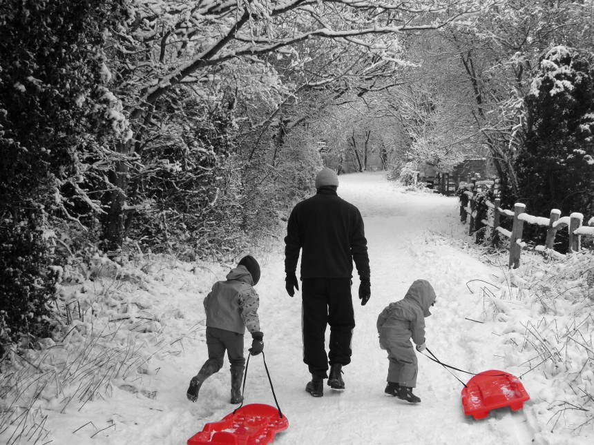 Sledging with Dad bw splash