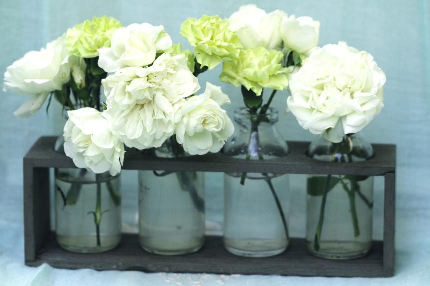 Vase bottles roses carnations