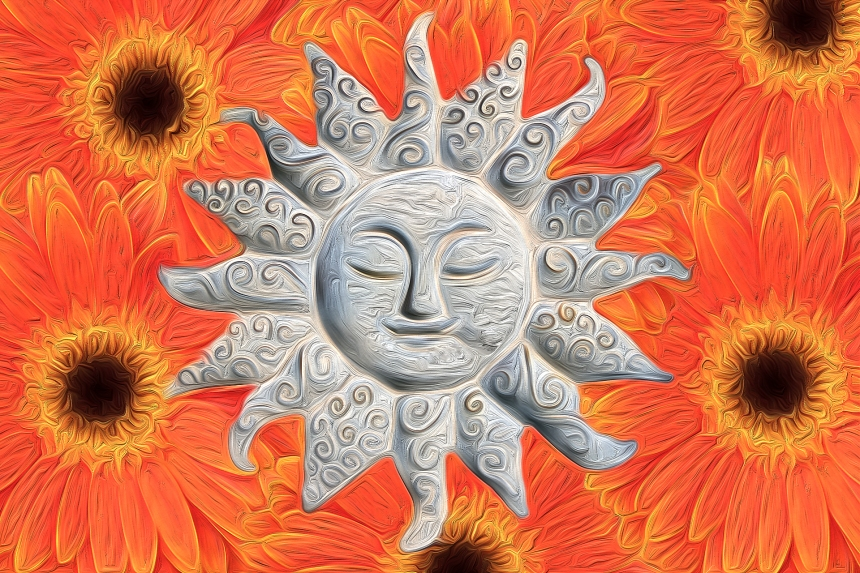 Sun face and flowers